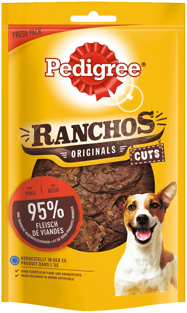 PEDIGREE® RANCHOS™ Originals Cuts Beutel mit Rind 65g
