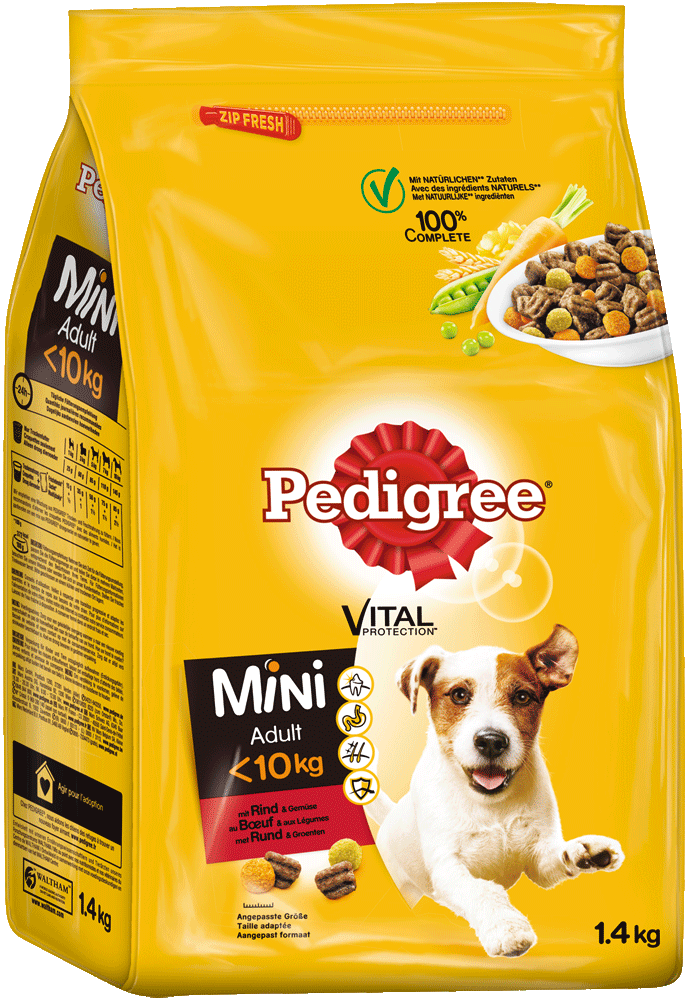 PEDIGREE® Vital Protection™ Beutel Mini Adult <10kg mit Rind & Gemüse 1,4kg