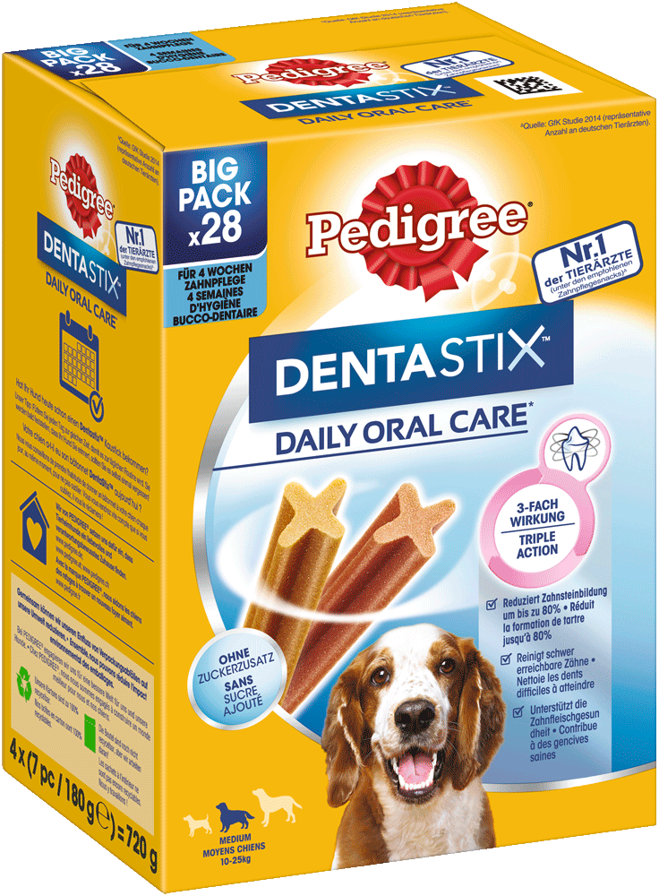 PEDIGREE® DENTASTIX™ Daily Oral Care Karton Multipack Mittelgrossse Hunde 4 x 7 Stück