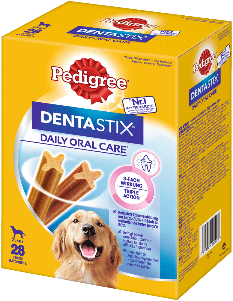 PEDIGREE® DENTASTIX™ Daily Oral Care Karton Multipack Grosse Hunde 4 x 7 Stück